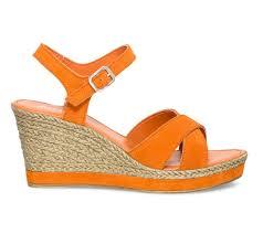 espadrille mariage espadrille compensée orange en croûte de cuir sandales talon