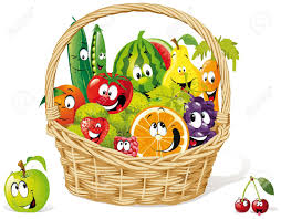 fruit and vegetable baskets basket of happy fruit and royalty free cliparts vectors and