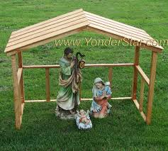 wooden outdoor nativity crèche manger yonder