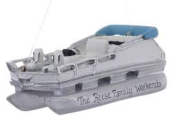 pontoon boat for lake cruising personalized ornament