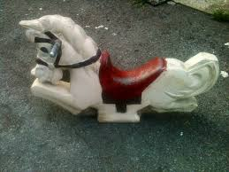 vintage aluminum playground spring ride horse toy ride je