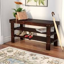 Wooden Table With Bench Shoe Storage U0026 Shoe Organizers