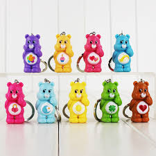 12pcs lot cute rainbow care bears keychain figure phone bag