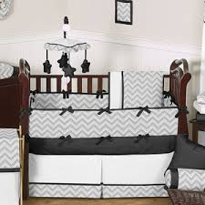 gray and black chevron zig zag baby bedding 9pc crib set by