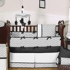 gray and black chevron zig zag baby bedding 9pc crib set by sweet