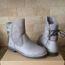 s grey ankle ugg boots ugg naiyah pencil lead grey leather twinface ankle boots us 9