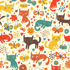 funny cats cartoon seamless pattern for children background