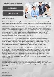 example cover letter for internship example cover letter