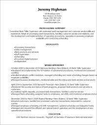 Extensive Resume Sample by Professional Bank Teller Supervisor Resume Templates To Showcase