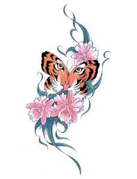 tiger butterfly and swirly stem flowers design