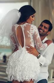 mini long sleeve lace wedding dresses 2017 scoop a line