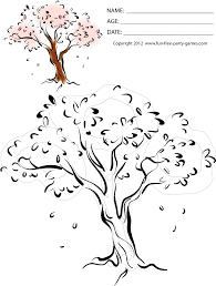 free spring coloring sheets spring scene cherry blossom tree