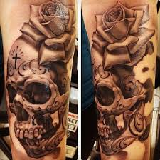 awesome rose flower and skull with cross tattoo golfian com