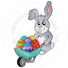cartoon easter bunny holding wheelbarrow with easter eggs by