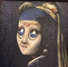 vermeer girl with pearl earring painting nyc artist paul hecker adds to paintings like