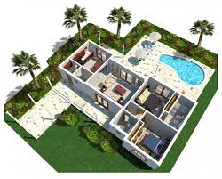 Architecture D Modern Luxury Home Plan With Curve Swimming Pool - Backyard bungalow designs