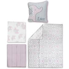 Wendy Bellissimo Baby Clothes Wendy Bellissimo Elodie Pink Grey Elephant 4 Piece Crib Bedding