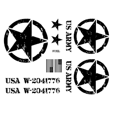 jeep decal jeep wrangler us army star decal kit 3m matte black custom