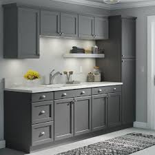 gray kitchen cabinets with white crown molding hton bay easthaven shaker 2 75x96 in crown molding in