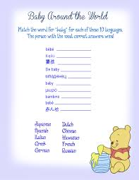 around the world baby shower game winne the pooh theme party