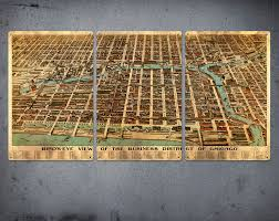 Map Of Chicago Illinois by Old Map Of Chicago Metal Triptych 34 X 17 Free Shipping