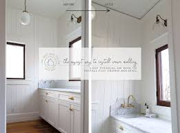 how to install cabinets with uneven ceiling diy the easiest way to install crown molding the