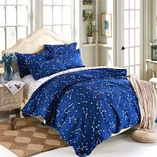 com esydream home bedding blue color constellation 4pc duvet cover sets space style kids bedding sets cotton microfiber no comforter queen full