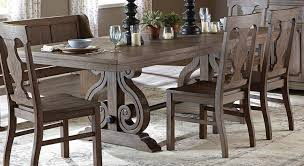 Trestle Dining Room Table by Homelegance Toulon Trestle Dining Table Wire Brushed 5438 96