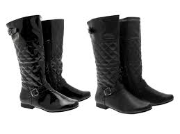 womens quilted boots uk womens quilted biker boots knee high flat black