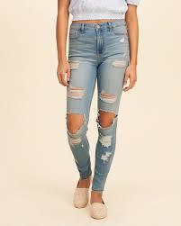 hollister light wash jeans designer womens hollister shredded high rise super skinny jeans in