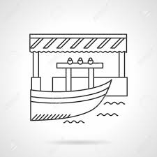Awning Boat Boat And Jetty Or Pier With Awning River Market Floating Shops