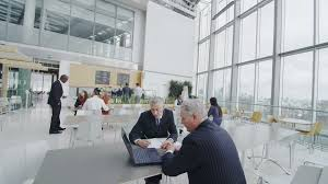 office canteen design 4k ultra hd version business people take a break in the company