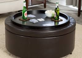 Black Leather Ottoman Coffee Tables Frightening French Country Round Linen Tufted