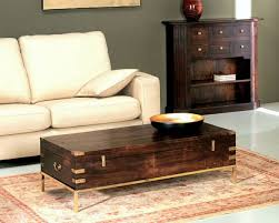 Vintage Trunk Coffee Table Furniture Living Room With Brown Sofa And Grey Cushion Also