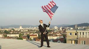 Holding The Flag Close Up Businessman Holding American Flag In Hands On The Top Of