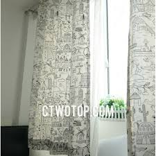 Green Kids Curtains Black And White Sahbby Chic Unique Painting Nursery Kids Curtains