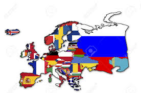 Map Of Europe Countries Some Very Old Grunge Map Of European Countries With Flags Stock