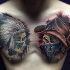 3d colorful two indian skull on chest