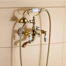 Bathtub Handheld Shower Gold Finish Rotating Clawfoot Bathtub Faucet With Handheld Shower Head