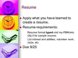 Resume Requirements Teen Living Practice Job Readiness Skills U0026 Ppt Download