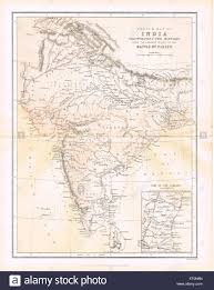 Dia Map Sketch Map Of India To Battle Of Plassey Stock Photo Royalty Free