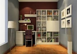 two tone wall painting color with small desk and minimalist
