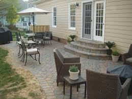 Small Paver Patio by Large Backyard Patio Ides With Chocolate Cane Work Armchair Beside