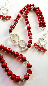red necklace earrings set images Red infinity necklace and earrings set handmade jewellery jpg