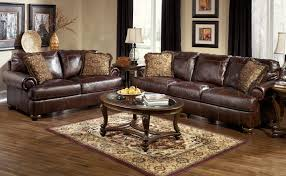 furniture brown full grain leather sofa with oval wood coffee