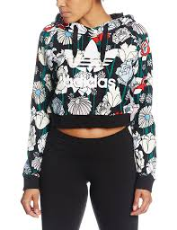 adidas crop top sweater adidas s crop hoody multicolor uk 14 eu 42 amazon co uk