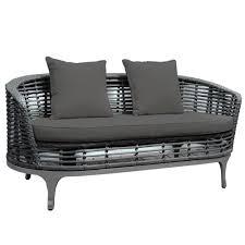 Rattan Curved Sofa by Brackenstyle Oasis Curved Dark Grey 4 Seat Rattan Garden Sofa Set