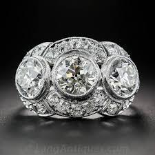 three stone engagement rings art deco 3 65 carat diamond platinum three stone ring for sale at