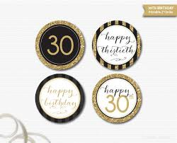 30th birthday decorations 30th birthday toppers printable black gold glitter birthday