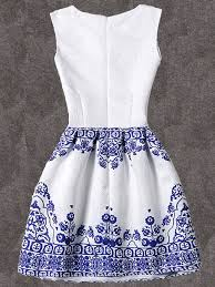 dress pattern fit and flare blue vintage pattern print fit flare sleeveless dressfor women romwe